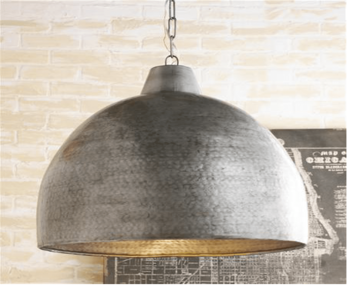 Hammered Steel Oversized Dome Pendant Light